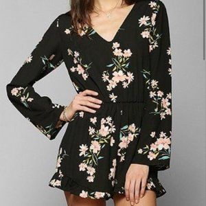 Urban Outfitters Silky Floral Ruffle Romper size S